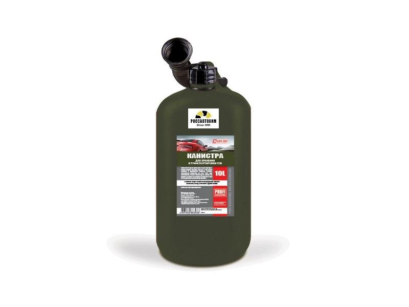 Канистра 3ton PROFI 10л ОЛИВКОВАЯ для топлива в комплекте с крышкой и лейкой
