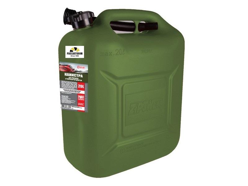 Канистра 3ton PROFI 20л ОЛИВКОВАЯ для топлива в комплекте с крышкой и лейкой
