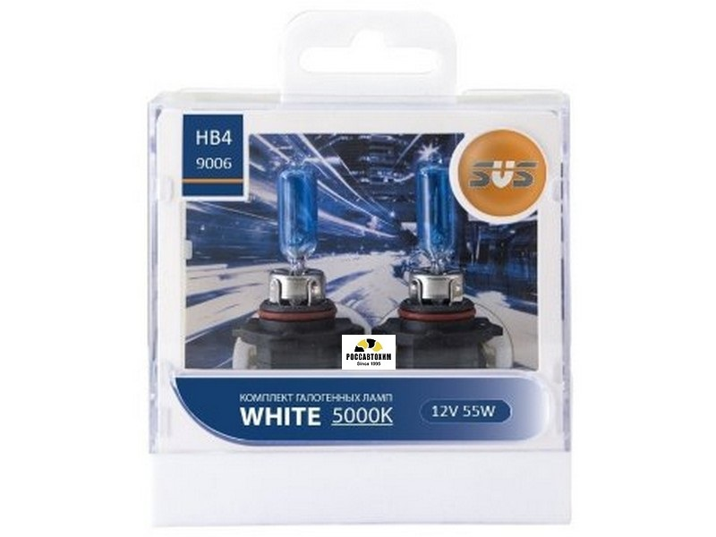 Автолампы 12V HB4/9006 55W  White 5000K (2шт+2шт W5W) SVS