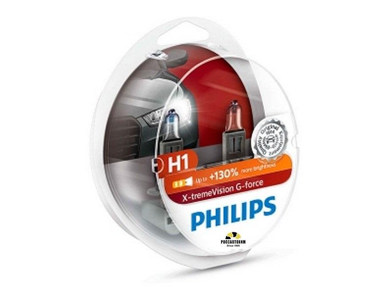 Лампа  PHILIPS H1 12V 55W (P14.5s)  X-tremeVision G-force +130% вибростойкая (2шт) 12258XVGS2